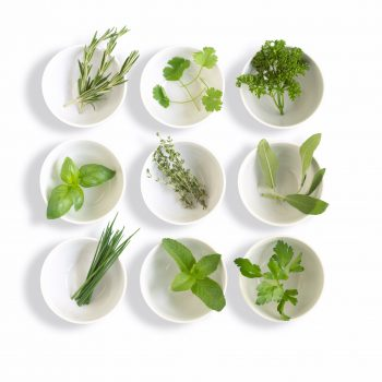 herbs in bowls